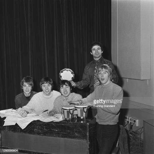 Australian rock band The Easybeats, UK, 16th February 1967. From left to right, Dick Diamonde, Stevie Wright, George Young, Snowy Fleet on the...