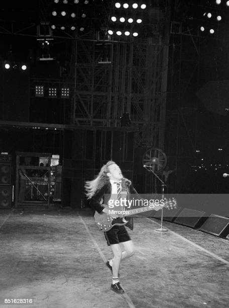 Australian rock group AC/DC performing in concert at the Rockedome in Rio De Janeiro Brazil during the Rock In Rio Festival concluding their 'Flick...