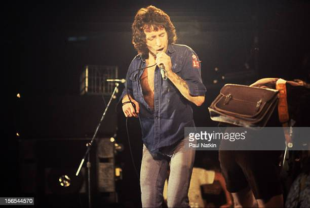 Australian rock group AC/DC performs at the Aragon Ballroom Chicago Illinois September 22 1978 Pictured is Bon Scott