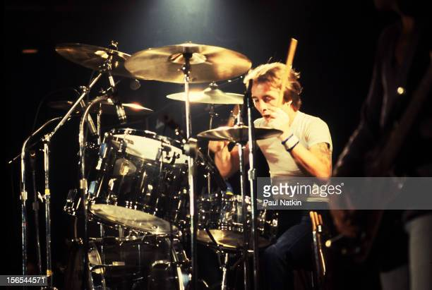 Australian rock group AC/DC performs at the Aragon Ballroom Chicago Illinois September 22 1978 Pictured is Phil Rudd