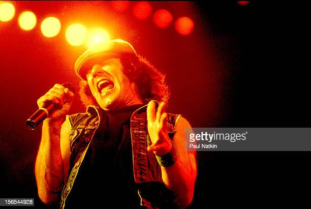 Australian rock group AC/DC performs at the Rosemont Horizon Chicago Illinois September 20 1980 Pictured is Brian Johnson