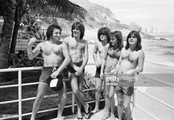 Australian rock group AC/DC takes time to relax at Ipanema beach in Rio De Janeiro Brazil during their visit to South America They are in the city to...