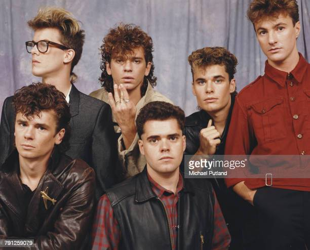 Australian rock group INXS posed together in London in September 1983 the group are LR Kirk Pengilly Michael Hutchence Jon Farriss Garry Gary Beers...