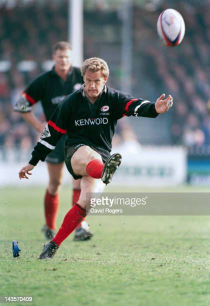 Australian rugby flyhalf Michael Lynagh of Saracens takes a kick during the Tetley's Bitter Cup semifinal against Northampton at Franklin's Gardens...