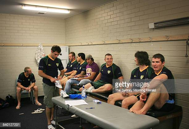 Australian Rugby League Kangaroos' meet and greet session with the media at Aussie stadium Members of the team relax in the dressing room 5 October...