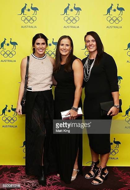 Australian Rugby Sevens players Charlotte Caslick Shannon Parry and Sharni Williams arrive ahead of the AOC Athlete Farewell Dinner at The Star on...