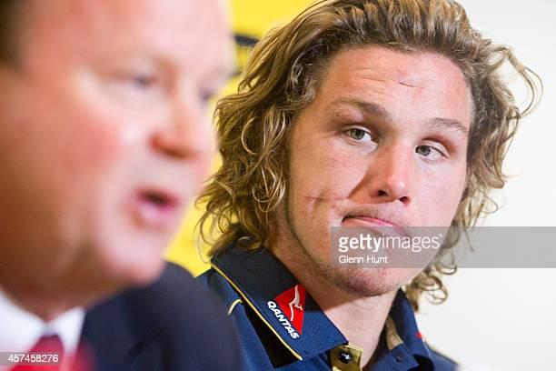 Australian Rugby Union CEO Bill Pulver and Qantas Wallabies captain Michael Hooper attend an Australian Wallabies press conference at the Hilton...