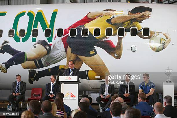 Australian Rugby Union Chief Executive Officer Bill Pulver speaks to the media at the Qantas B737 aircraft livery unveiling while also celebrating...