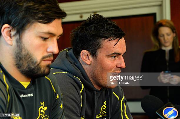 Australian rugby union players Adam AshleyCooper and Kane Douglas attend a press conference in Sydney on July 1 2013 The Australian Wallabies will...