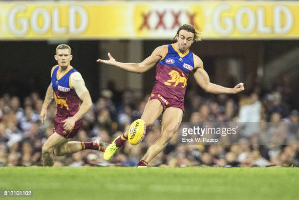 Brisbane Lions Rhys Mathieson in action kick vs Geelong Cats at the Gabba Brisbane Australia 7/8/2017 Credit Erick W Rasco