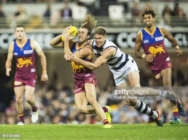 Brisbane Lions Rhys Mathieson in action vs Geelong Cats at the Gabba Brisbane Australia 7/8/2017 Credit Erick W Rasco
