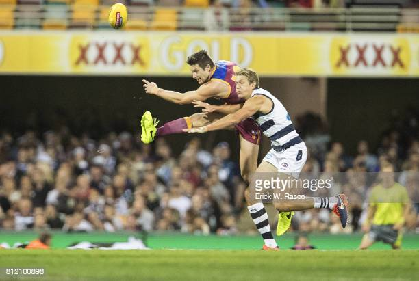 Brisbane Lions Stefan Martin in action vs Geelong Cats at the Gabba Brisbane Australia 7/8/2017 Credit Erick W Rasco