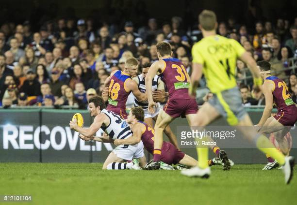 Geelong Cats Patrick Dangerfield in action vs Brisbane Lions at the Gabba Brisbane Australia 7/8/2017 Credit Erick W Rasco