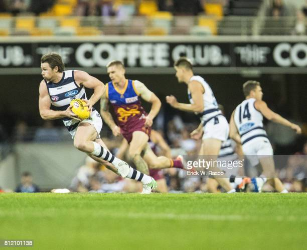 Geelong Cats Patrick Dangerfield in action run vs Brisbane Lions at the Gabba Brisbane Australia 7/8/2017 Credit Erick W Rasco
