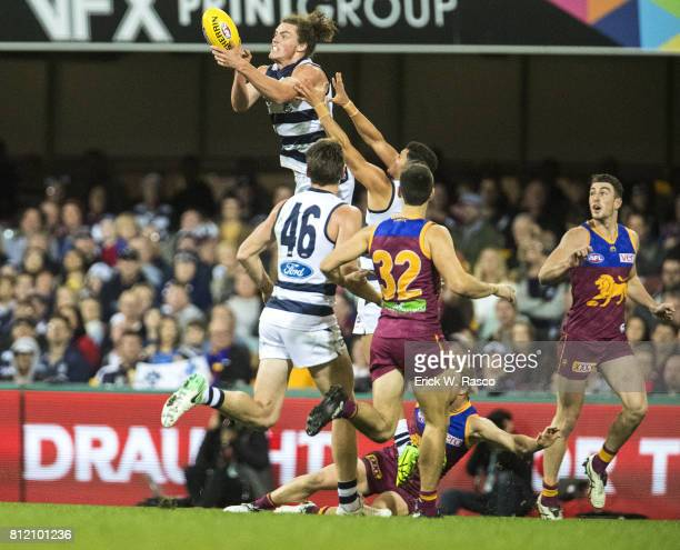 Geelong Cats Wylie Buzza in action vs Brisbane Lions at the Gabba Brisbane Australia 7/8/2017 Credit Erick W Rasco