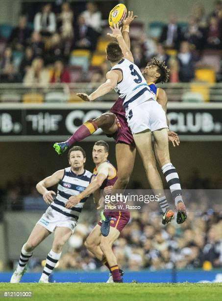 Geelong Cats Zac Smith in action vs Brisbane Lions Archie Smith at the Gabba Brisbane Australia 7/8/2017 Credit Erick W Rasco