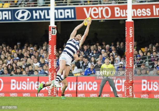 View of Geelong Cats Patrick Dangerfield in action vs Brisbane Lions at the Gabba Brisbane Australia 7/8/2017 Credit Erick W Rasco