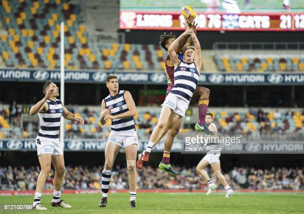 View of Geelong Cats Rhys Stanley in action vs Brisbane Lions at the Gabba Brisbane Australia 7/8/2017 Credit Erick W Rasco