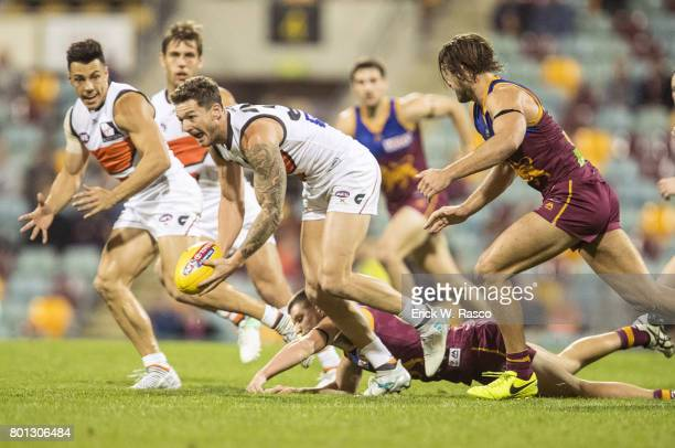 View of Greater Western Sydney Giants Aidan Corr in action vs Brisbane Lions during Round 14 match at the Gabba Brisbane Australia 6/24/2017 CREDIT...