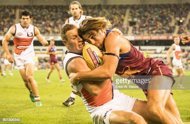 View of Greater Western Sydney Giants Steve Johnson in action vs Brisbane Lions during Round 14 match at the Gabba Brisbane Australia 6/24/2017...