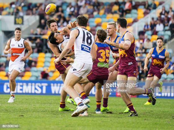 View of miscellaneous action during Brisbane Lions vs Greater Western Sydney Giants during Round 14 match at the Gabba Brisbane Australia 6/24/2017...