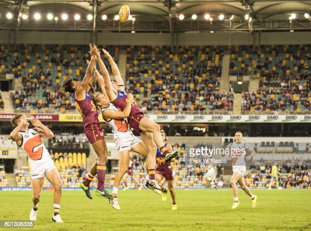 View of miscellaneous Brisbane Lions player in action vs Greater Western Sydney Giants during Round 14 match at the Gabba Brisbane Australia...