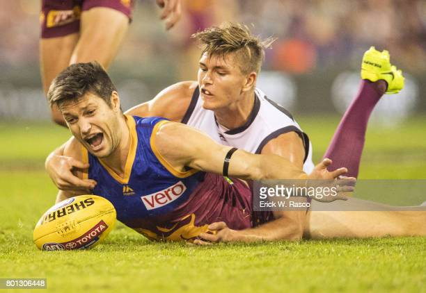 View of miscellaneous Brisbane Lions player in action during vs Greater Western Sydney Giants during Round 14 match at the Gabba Brisbane Australia...