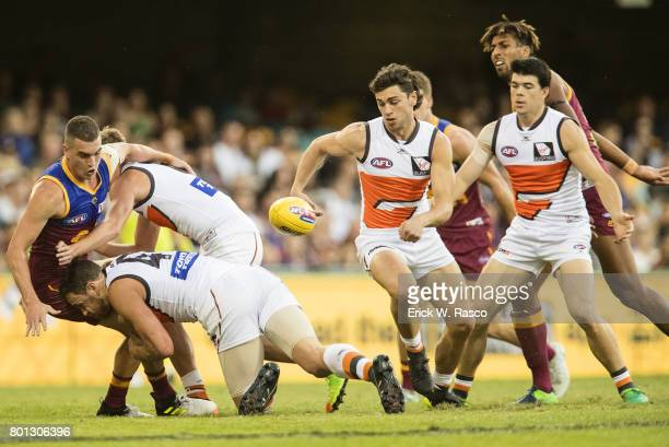 View of miscellaneous Greater Western Sydney Giants player in action vs Brisbane Lions during Round 14 match at the Gabba Brisbane Australia...