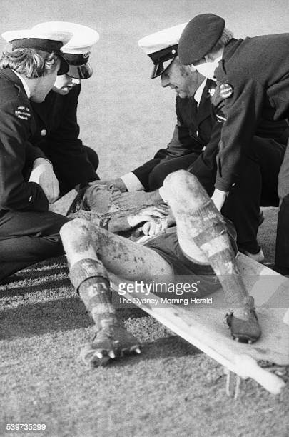 Australian Russell Fairfax lies on a stretcher during the rugby union match between Australia and France at the Sydney Cricket Ground , 17 June 1972....
