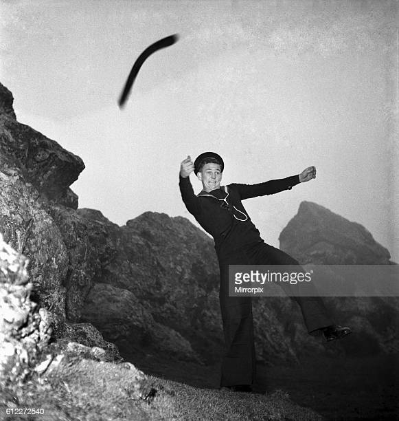 Australian Sailor Eddie Cook is a keen boomerang thrower November 1952 C5624001