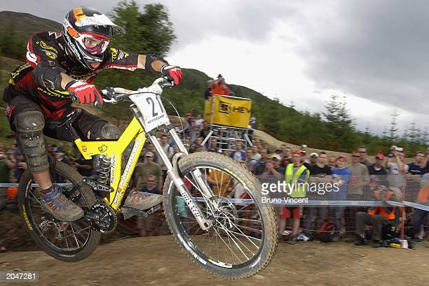 Australian Sam Hill competing in the finals of the UCI Downhill Mountain Bike World Cup June 1 2003 at the Nevis Range Fort William Scotland