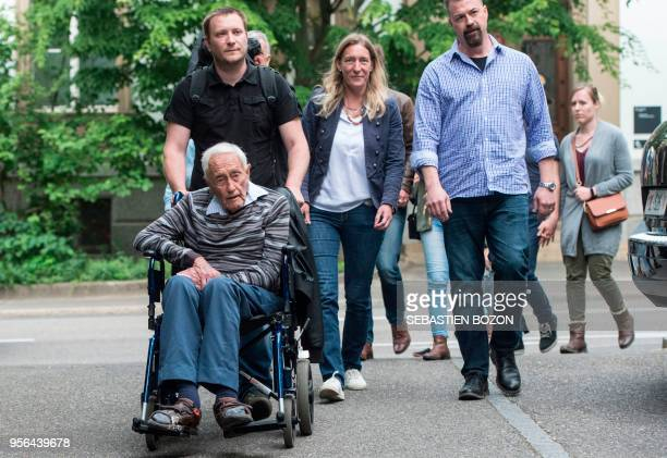Australian scientist David Goodall arrives in a wheelchair to hold a press conference on May 9 2018 on the eve of his assisted suicide in Basel...