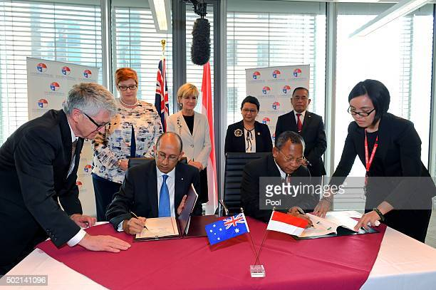 Australian Secretary of the Department of Foreign Affairs and Trade Peter Varghese signs the Memorandum of Understanding with Indonesian Head of...