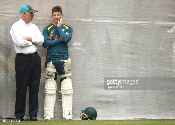 Australian Selector Greg Chappell speaks with Tim Paine of Australia during an Australian nets session at Adelaide Oval on December 04 2018 in...