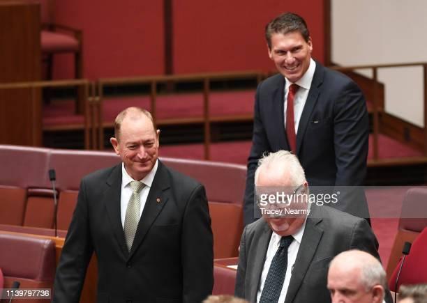 Australian senator Fraser Anning and Senator Cory Bernardi in the Senate at Parliament House on April 02 2019 in Canberra Australia A motion to...