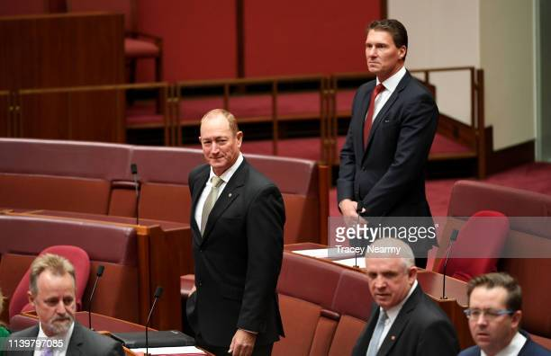 Australian senator Fraser Anning in the Senate at Parliament House on April 02 2019 in Canberra Australia A motion to censure the controversial...