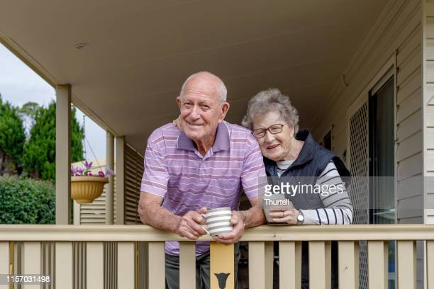 australian senior citizen couple living independently at own home - 70 79 years stock pictures, royalty-free photos & images