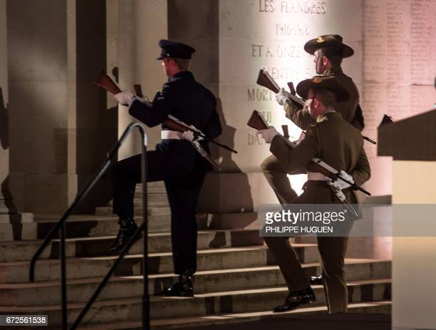 Australian servicemen take part in Anzac Day ceremonies at the military cemetery of the Australian National Memorial in VillersBretonneux northern...