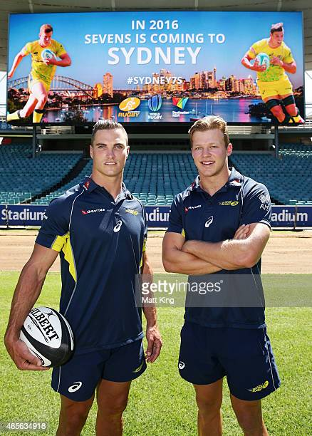 Australian Sevens players Ed Jenkins and Cameron Clark pose during the ARU Sevens World Series announcement at Allianz Stadium on March 9 2015 in...