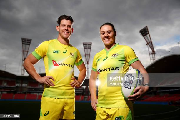 Australian Sevens players Simon Kennewell and Sharni Williams pose during the Australian Rugby Sydney Sevens announcement at Spotless Stadium on May...