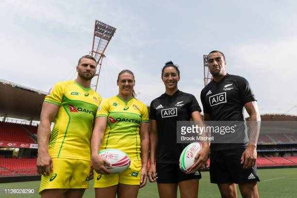 Australian Sevens Rugby Captains Lewis Holland and Sharni Williams with New Zealand Rugby Seven's Captain Sarah Goss and Sione Molia during the...