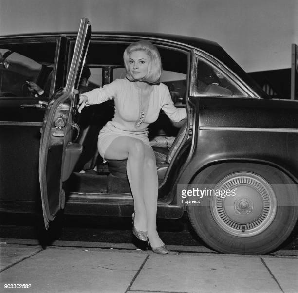 Australian singer and actress Trisha Noble stepping out from a car UK 10th September 1968
