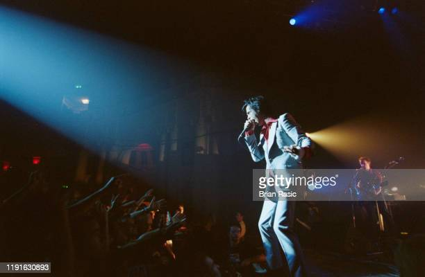 Australian singer and musician Nick Cave performs live on stage with Nick Cave and the Bad Seeds at Brixton Academy in London on 14th August 1996.