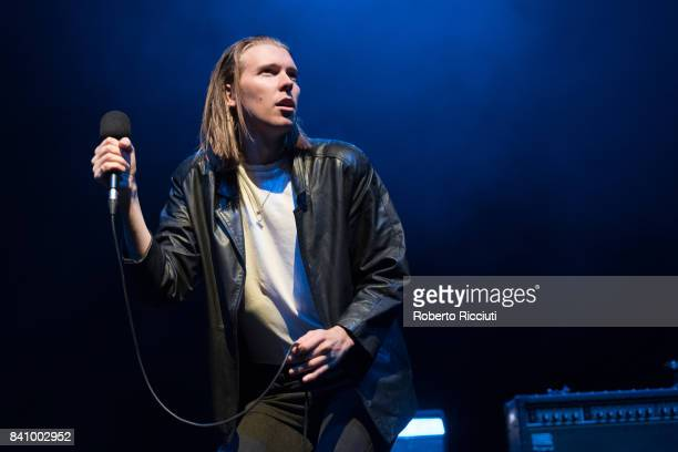 Australian singer and songwriter Alex Cameron performs on stage at Usher Hall on August 30 2017 in Edinburgh Scotland