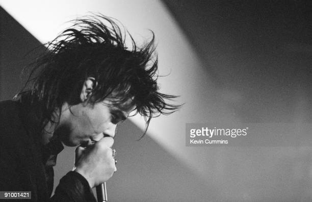 Australian singer and songwriter Nick Cave performing with The Birthday Party at the Hacienda Manchester July 1982