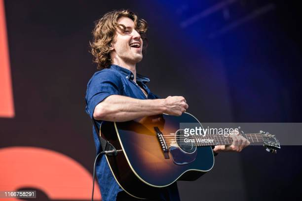 Australian singer Dean Lewis performs live on stage during the second day of the Lollapalooza Berlin music festival at Olympiagelände on September 8...