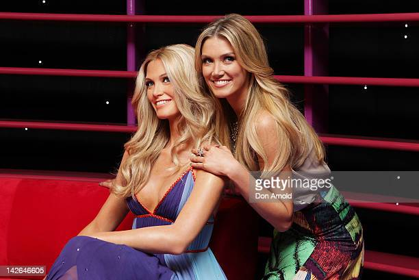 Australian Singer Delta Goodrem poses with her wax figure on April 11 2012 in Sydney Australia Madame Tussauds Sydney officially opens it's doors to...