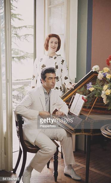 Australian singer Joan Sutherland pictured at home with her husband pianist Richard Bonynge in 1962