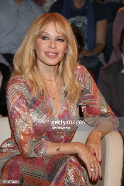 Australian singer Kylie Minogue during the 'Markus Lanz' TV Show on April 10 2018 in Hamburg Germany
