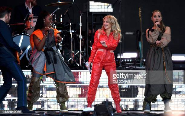 Australian singer Kylie Minogue performs at the Glastonbury Festival of Music and Performing Arts on Worthy Farm near the village of Pilton in...